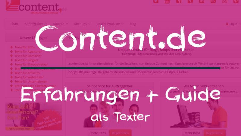 Content.de - Erfahrungen + Guide als Texter